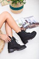 meyra'nın ayakkabıları Siyah Cilt Bağcıklı Bot