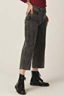 its basic Kadın Füme Renk Wide Leg Kalıp Bol Paça Jean