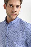 Avva Erkek Mavi Baskılı Düğmeli Yaka Slim Fit Gömlek A01s2221