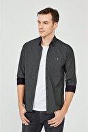 Avva Erkek Siyah Baskılı Alttan Britli Yaka Slim Fit Gömlek A02y2240
