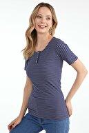 Sementa Kadın Patlı Yaka Çizgili Bluz - Lacivert
