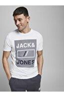 Jack & Jones JCOROJAR TEE SS FST Beyaz Erkek T-Shirt 101069370