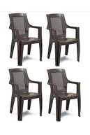 Gardelia 6 Adet Elegance Rattan Efektli Plastik Sandalye + 70x120 Plastik Masa Balkon Bahçe Sandalyesi