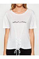 Koton Kadın Kus Gözü Detayli T-shirt