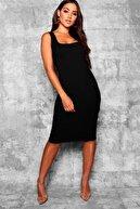lovebox Esnek Dalgıç Kumaş Askılı Göğüs Dekolteli Siyah Kalem Elbise