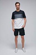 GRIMELANGE JASON Beyaz Jakarlı Kumaşlı Yumuşak Dokulu Parçalı Basic T-Shirt