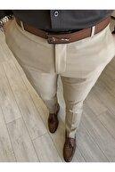TerziAdemAltun Italyan Stil Slim Fit Erkek Kumaş Pantolon Açık Camel T4678