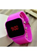 Watchart Watcart Fuşya Renk Dijital Led Unisex Kol Saat Silikonlu Bileklik St-303675