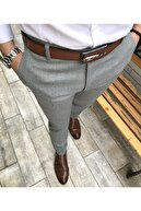 TerziAdemAltun Italyan Stil Slim Fit Erkek Kumaş Pantolon Gri T4254
