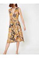 Koton Kadın Desenli V Yaka Elbise