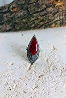 Sungurbey Gümüş Dünyası Damla Model Akik Ve Markazit Taşlı Gümüş Bayan Yüzük