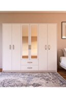 Metalia Lüx 6 Kapı 2 Çekmeceli Aynalı Gardrop