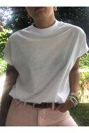 Basic Co Cate Dik Yaka (Mock Neck) Basic Beyaz T-shirt