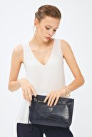 Deri Company Kadın Basic Clutch Çanta Kroko Timsah Desen Lacivert 214003