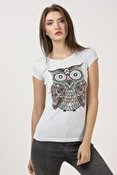 Tena Moda Kadın Açık Mavi Baykuş Baskılı Tişört