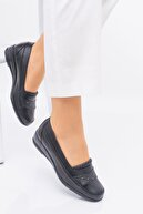 MelikaWalker Full Comfort Ortopedik Taban 4 Taşlı Içi Hakiki Deri Siyah Anne Ayakkabısı