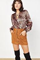 Lafaba Kadın Siyah Leopar Desenli Çıtçıtlı Bluz