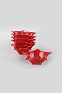 Keramika Kırmızı Yıldız Çerezlik / Sosluk 16 Cm 6 Adet