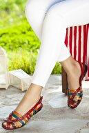 Deripabuc Hakiki Deri Kırmızı Multi Kadın Deri Sandalet Dp11-6203