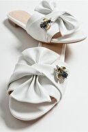 luvishoes T01 Beyaz Taslı Kadın Terlık