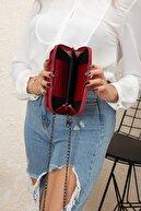 Accessory City Telefon Bölmeli Süet Kumaş Tokalı Kadın Omuz Çantası