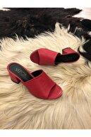 Vizon Ayakkabı Kırmızı Deri My Day Terlik