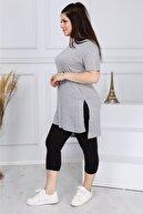 EMEZ Kadın Gri Uzun Tişört