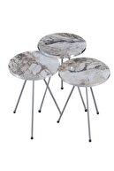 FALEZ MOBİLYA AKSESUAR Zigon Sehpa 3'lü Gümüş Metal Ayak Gümüş Efes
