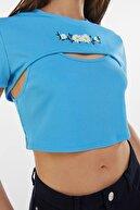 Bershka Kadın Mavi İşlemeli Çift Kat T-shirt