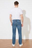 TRENDYOL MAN Koyu Mavi Erkek Straight Destroylu Jeans TMNSS21JE0549