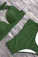Angelsin Kadın Yeşil Yüksek Bel Bikini Takım