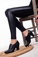 Deripabuc Hakiki Deri Siyah Kadın Topuklu Deri Ayakkabı Trc-1069