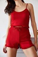 Xena Kadın Kırmızı Askılı Fırfırlı Pijama Takımı 0YZK8-10131-04