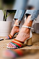 Limoya Kadın Beyaz Multi Hasır Topuklu Ayakkabı