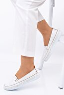MelikaWalker Kadın Anne Ortopedik Beyaz Alçak Topuklu Günlük Rahat Bayan Ayakkabı