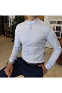 TerziAdemAltun Italyan Kesim Slim Fit Erkek Hakim Yaka Gömlek Buz Mavisi T4796