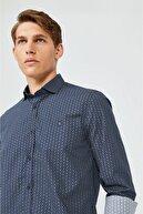 Avva Erkek Lacivert Baskılı Alttan Britli Yaka Slim Fit Gömlek A02y2073