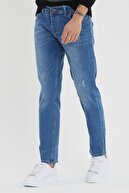 Tarz Cool Erkek Mavi Denim Slim Fit Pantolon
