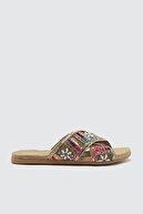 Trendyol Shoes Fuşya Etnik Baskılı Kadın Terlik TAKSS21TE0005