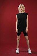 Grenj Fashion Kadın Siyah Pamuk Bisiklet Yaka Kolsuz Örme T-shirt