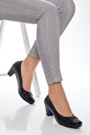 Deripabuc - Anatomik Hakiki Deri Siyah Kadın Topuklu Deri Ayakkabı Shn-5152