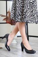 Deripabuc Hakiki Deri Siyah Kadın Topuklu Deri Ayakkabı Dp06-0001
