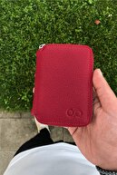 Deripark Unisex Kırmızı Fermuarlı Mini  Deri Cüzdan
