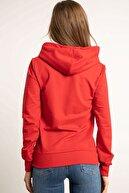 Hadise Fermuarlı Kapşonlu Sweatshirt Kırmızı