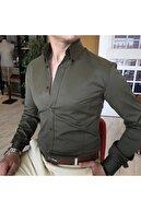 TerziAdemAltun Italyan Stil Slim Fit Dik Yaka Saten Erkek Gömlek Haki T4745
