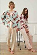 Feyza Pijama Feyza Pembe Kimono Sabahlıklı Üçlü Pijama Takımı