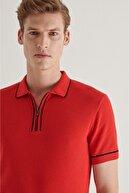 Avva Erkek Kırmızı Polo Yaka Yarım Fermuarlı Jakarlı Kısa Kol Kazak A11y5006