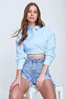 Trend Alaçatı Stili Kadın Mavi Bağcıklı Crop Poplin Gömlek ALC-X6039