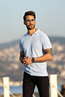Ferraro A.mavi/beyaz Kuşgözü Desenli Polo Yaka Erkek Triko T-shirt