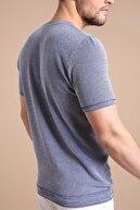Ferraro Erkek Lacivert Kuşgözü Desenli Bisiklet Yaka Triko T-Shirt